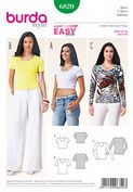 6820 Burda Pattern: Misses' T-Shirt tops in 3 styles